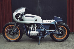 A 1976 Honda Goldwing Motorcycle with a Cafe Racer kit makeover