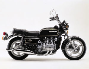 A very clean very stock looking First Generation Goldwing motorcycle without luggage or accessories.