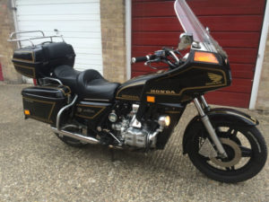 A Very original looking 1982 GL1100 With full faring and luggage, caliper covers and driving lights.