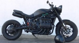 A matte black finish on a stripped down bobber style Goldwing.
