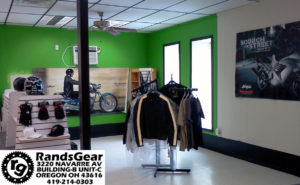 sales floor of Rands Motorcycle Gear 3220 Navarre Avenue Oregon Ohio