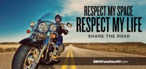 A biker approaches on a lonely desert road. Text of this infographic reminds motorists to Respect My Space, Respect My Life.