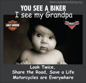 Black and white photo of an infant. The text of this infographic reminds motorists that where you see a biker, this baby sees his grandpa.