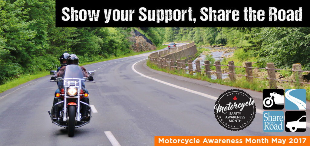 Asphalt road next to scenic river. A motorcycle is approaching. The text in this infographic reminds motorists to show support by sharing the road with motorcyclists.