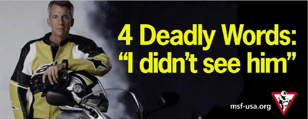 "Inforgraphic. A motorcyclist stands to the left, dark background to the right. Bright Text on a dark background, 4 Deadly Words: ""I didn't see him"""