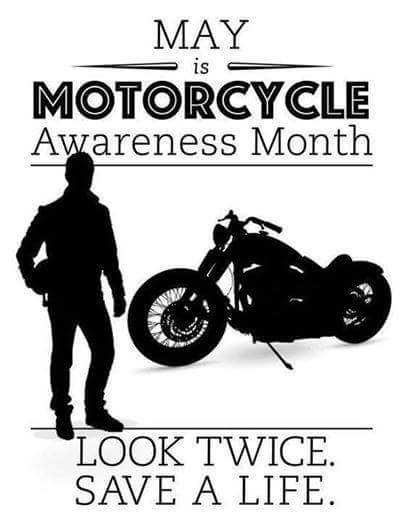 High Contast Infographic. White background with black. May is Motorcycle Awareness Month. Look Twice, save a life. A silhouette a motorcycle and a motorcyclist. of