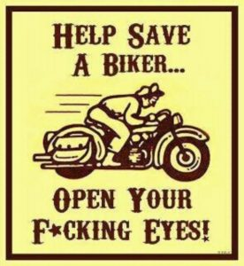 Infographic featuring a vintage motorcycle with text. Help save a biker... Open your f*cking eyes!
