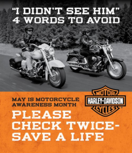 I Didn't See Him. Four Words to Avoid. Motorcycle Awareness Meme Featuring two bikers riding together.