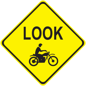 Yellow diamond road sign themed graphic withe word FRIEND over a shilouette of a motorcycle.